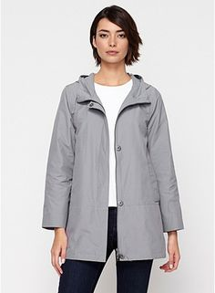 Hooded Jacket with Dipped Hem in Weather Resistant Cotton Nylon