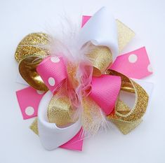 boutique MINI mod PINK and GOLD hair bow clip by andJane on Etsy