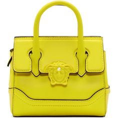 Versace Yellow Mini Empire Bag ($1,430) ❤ liked on Polyvore featuring bags, handbags, shoulder bags, yellow, zip purse, yellow purse, striped handbags, stripe purse and zipper shoulder bag