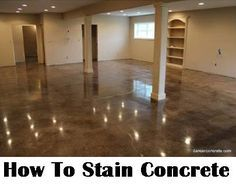 How To Stain Concrete (DIY Home Improvement) - Make your boring concrete floor shine! @diycraftsmom