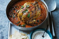 This Indian inspired whole baked chicken is an easy way to get dinner on the table, whilst curing those takeaway cravings. Baked Butter Chicken, Whole Baked Chicken, Easy Roast Chicken, Roast Chicken Recipes, Stuffed Whole Chicken, Roasted Chicken, Chicken Meals, Night Dinner Recipes, Dinner Ideas