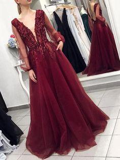 2020 Beaded Long Prom Dress with Sleeves, Popular Evening Dress ,Fashi – PromDressForGirl