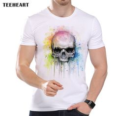 Watercolor Skull Print T Shirt for Men Summer Cool Art Style Short Sleeve Modal Top Tees