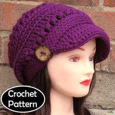 CROCHET HAT PATTERN - Brooklyn Newsboy Hat Slouchy