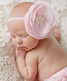 Loving this Pink Satin Pearl Flower Headband - Infant on #zulily! #zulilyfinds