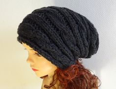 Hand Knit Hat  Slouchy Hat Beanie Knit Cable hat Slouchy by Ifonkaa,