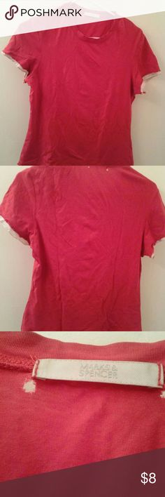Beautiful Red tee Beautiful Red tee from Marks and Spencer  Size S Round neck Short sleeves with ruffle detail Pink trim at hem and sleeves 100% cotton Super soft fabric  Note that item has two small holes near the label Marks & Spencer Tops Tees - Short Sleeve