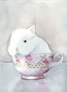 Original watercolor painting bunny rabbit in porcelain by HelgaMcL, $22.00