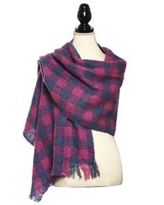 Blue & Pink / 100% Acrylic / Knit Boucle Multi Square Shawl