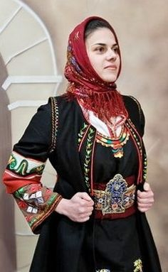Close-up of a traditional festive costume from Ano Klines (northern Greece), where Greek refugees from Makra Gefyra / Uzunköprü (to the south of Edirne) resettled in 1922/23.  Clothing style: Greek, early 20th century.