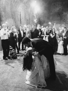 """Pat took ballroom dancing lessons during college and showed off some of his moves during their first dance to Frank Sinatra's """"The Best Is Yet To Come"""". """"I let him dip me all he wanted,"""" Amanda notes. Guests surrounded them with sparklers, lighting up the moment even further."""
