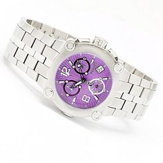 Renato Womens Vulcan Swiss Quartz Chronograph Diamond Accented Bracelet Watch