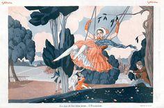 Fabius (Alberto Fabio) Lorenzi 1926 Attractive Girl Swing 18th Century Costumes