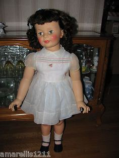 Patti Playpal Curly Bob Brunette G 35 1959 Original Dress w Organdy Pinny