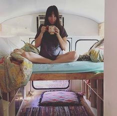 """: """"First cup of coffee made in our home. we've been living in it for almost a year . Van Organization, Organizing, Pop Up Shop, Camping, Vw T, Life Pictures, Truck Camper, Camper Van, Rv Life"""