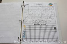 Elementary Notebook Printables. Very interesting and idea seems similar to Calendar Math, but in printable format. Might be a good way to hold the kids responsible to recording and tracking.
