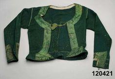 Tröja i vadmal kantad med sidenband. Oxie, 1820-40. Nordiska Museet, nr. NM.0120421