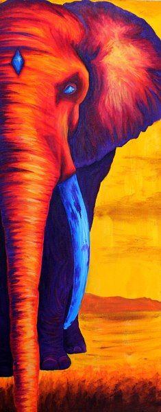 J'ai choisi cette image parce qu'il n'est pas réelle, un éléphant rouge-orange avec des cornes bleus. Il permet de bien voir les ombrages qui sont plus foncé que l'éléphant ou plus pâle.