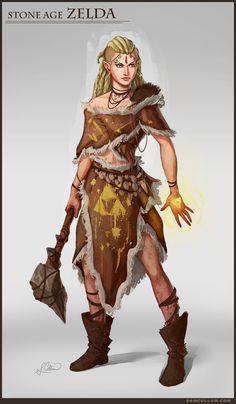 Stone Age Zelda, Sam Cullum on ArtStation at https://www.artstation.com/artwork/G6JEW