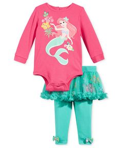 Nannette 2-Pc. Little Mermaid Bodysuit & Tutu Leggings Set, Baby Girls (0-24…