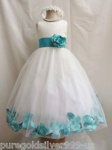 Flower Girl Dress - white sleeveless dress tulle skirt with blue ribbon around the waist and blue petals around the bottom