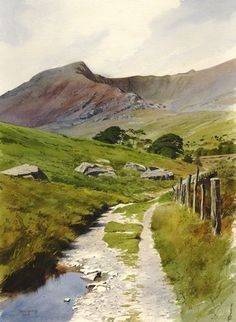 The old road to Ogwen, an original watercolour painting by Rob Piercy