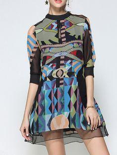 d6a7a20d564 Stand Collar Midi Dress A-line Half Sleeve Chiffon Dress - StyleWe.com Funky