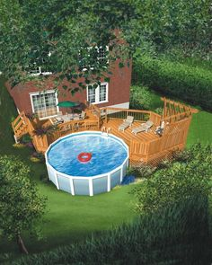Getting The Most Out Of A Deck With Patio Designs – Pool Landscape Ideas Patio Plan, Pool Deck Plans, Above Ground Pool Landscaping, Above Ground Pool Decks, Ground Pools, Deck Landscaping, Small Backyard Decks, Backyard Patio, Backyard Ideas