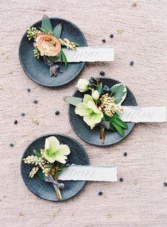 Rustic wedding boutonnieres: http://www.stylemepretty.com/little-black-book-blog/2017/03/21/modern-art-romantic-florals-wedding-inspiration/ Photography: Kayla Barker - http://www.kaylabarker.com/