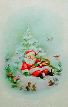 Santa sleeping with reindeer and forest creatures - vintage Christmas greeting card image Holiday Images, Vintage Christmas Images, Old Christmas, Christmas Scenes, Retro Christmas, Vintage Holiday, Christmas Pictures, Christmas Greetings, Father Christmas