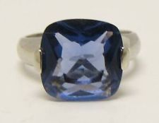 SOLID 925 STERLING SILVER BLUE PURPLE CZ 11MM SQUARE CUSHION CUT 4.6g size 8.5