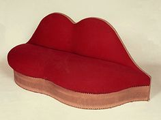 "Mae West's ""Lips"" sofa designed by Salvador Dali and Edward James in 1938."