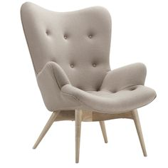 Plush Contour Chair with Taupe fabric seat and Ash wood feet