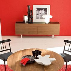 #interior #sideboard #wood #red #table #chair