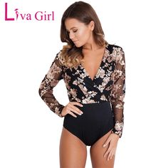 a605288cfa52 Liva Girl Women Sexy Bodysuit Sequin Bodysuits Long Sleeve Deep Neck Mesh  Black Bodycon Bodysuit Elegant Jumpsuit Body Feminino