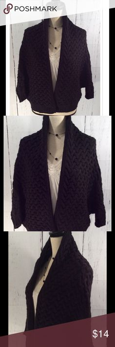 Forever 21 3/4 Sleeve Wrap Forever 21 3/4 Sleeve shrug/wrap in black. Size Small. Material: 100% acrylic. Forever 21 Sweaters Shrugs & Ponchos