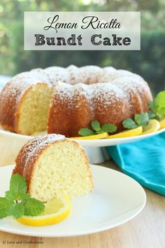 Lemon Ricotta Bundt Cake from LoveandConfections.com for #BundtBakers