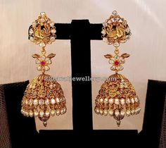 Colorful Gemstone Set Jhumkas by Mahalaxmi jewellers Gold Jhumka Earrings, Jewelry Design Earrings, Gold Earrings Designs, Gold Jewellery Design, Big Earrings, Gold Jewelry, Earings Gold, Diamond Earrings, India Jewelry