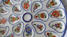 Go Pentyofamelie.com - Quimper Henriot Oyster platter, large Handpainted ceramic seafood dish, Colorful flower arrangements