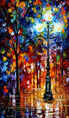I just LOVE this artists colorful paintings! *Blue lights oil painting by Leonid Afremov by Leonidafremov*