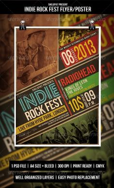 Indie Rock Fest Flyer / Poster — Photoshop PSD #gig #unplugged gig • Available here → https://graphicriver.net/item/indie-rock-fest-flyer-poster/3829337?ref=pxcr