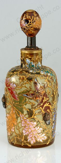 ANTIQUE c.1880 MOSER ENAMELLED GLASS SCENT PERFUME BOTTLE WITH INSECTS & ACORNS #2. This item is sold, to visit my website to see what's in stock click here: http://www.richardhoppe.co.uk or for help or information email us here: info@richardhoppe.co.uk