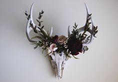 "Preserved Deer Skull with Flowers by Maison De La Croix """