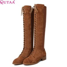 66.42$  Buy now - http://alifxu.worldwells.pw/go.php?t=32484436777 - QUTAA Black Brown Western Style Lady Shoe Low Heel Women Knee High Boot Genuine Leather Woman Motorcycle Boot Size 34-43
