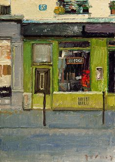 The Green Cafe -- a small painting by Paul Ferney
