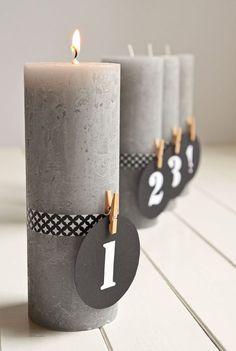 Puristischer Adventskranz ohne Tannenzweige (DIY mit Kerzen und Maskingtape)