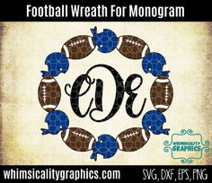 Digital File - Football Wreath  With Helmet and Jersey For Monogram with svg, dxf, png Commercial & Personal Use