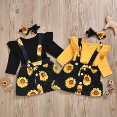 Ruffle Shoulder Bodysuit W/ Sunflower Suspender Skirt & Headband Baby Girl Clothes Bodysuit Headband Ruffle Shoulder Skirt Sunflower Suspender Baby Girl Skirts, Cute Baby Girl Outfits, Kids Outfits, Matching Sister Outfits, Baby Girl Fashion, Kids Fashion, Style Fashion, Vetement Fashion, Girl Sleeves