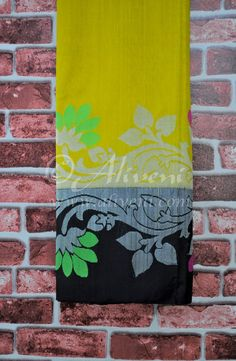 Golden Yellow Plain Handloom Saree with Black/Silver Kuppadam Floral Border