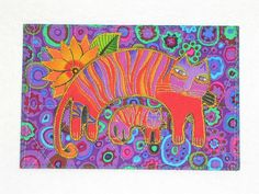 Laurel Burch Style Quilted Postcard CATS by postquilts on Etsy